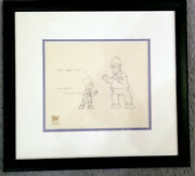 Original Simpsons Production Drawing Bart And Homer With Coa Framed