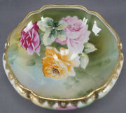 Hand Painted Nippon Pink And Yellow Rose And Gold Beaded Footed Bowl C. 1891 - 1911