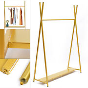 1.6m Height Gold Garment Rack With Wood Board Stand Iron Wedding Dress Stand