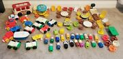 Vintage 1960's To 1970's Fisher Price Little People Lot 99 Peices, Bus, Cars