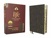 Niv Life Application Study Bible Third Edition-navy Floral Bonded Leather