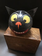 Antique Vintage Black Cat German Halloween Candy Container