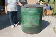 Huge Rare Antique 1890and039s Standard Co. Perfection Oil Metal Drum Can 30x36 Sign