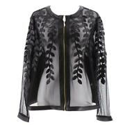 Colleen Lopez Faux Leather Leaf And Mesh Jacket Black
