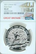 2021 Great Britain Silver 2 Pounds Robin Hood Ngc Ms 69 Beautiful Coin Top Pop