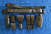 Bianchi Accumold Sam Browne Basket Weave Duty Belt/holster And Accessories