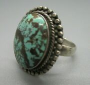 Vintage 7.4g Sterling Silver 925 Turquoise Cabochon Ring Size 7