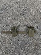 2 Vietnam War M-1956 Small Arms Ammunition Pouches With Ww2 Combat Belt Us Army