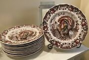 Johnson Brothers Made In England His Majesty Turkey Thanksgiving Plates 11