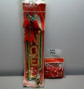 Vintage Shiny Brite Mercury Glass Bead Garland And 20 Noel With Bells Nip - A62