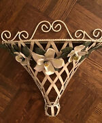 Vintage Tole Painted Chic Shabby Metal Floral Wall Shelf