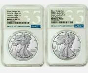 Ngc Pf70 American Eagle 2021 One Oz Silver Reverse Proof Two Coin Set Designerandnbsp