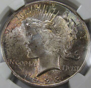 1923 Peace Silver Dollar Gem Bu Ngc Ms-65... With Superb Toning, A Pretty Coin