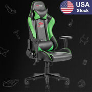 Racing Style Computer Gaming Chair Ergonomic Recliner Swivel Office Chairgreen