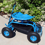 Garden Rolling Cart Scooter Extendable Steering Handle Swivel Seat Lawn Tractor