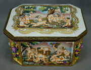 French Capodimonte Style Hand Painted Neoclassical Large Jewelry Casket Box