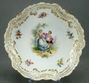 Helena Wolfsohn Dresden Hand Painted Courting Couple Floral And Gold Shallow Bowl