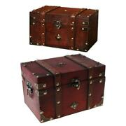 Treasure Chest Vintage Wooden Storage Box Antique Style Jewelry Organizer For Je