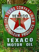 Texaco Porcelain Sign Advertising Vintage Gasoline 24 Inches Oil Old Gas Usa Tex