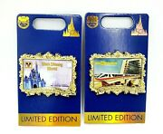 Disney Parks 50th Anniversary Castle And Monorail Postcard Limited Edition Pin Set