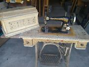 Antique 1889 Singer Vs2 Sewing Machine With Coffin And Cast Iron Framed Table