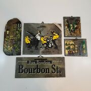 Handcrafted Vtg Roofing Slate New Orleans Rue Bourbon St Signed Dated Lot Of 5