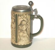 Gerzit W Germany Beer Stein With Pewter Lid Cameo Relief 4 Motifs Vintage
