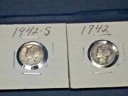 1942-p And S Winged Liberty Head Mercury Silver 2 Dimes Free Shipping