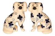 Antique Blue And White Staffordshire Dogs - A Pair