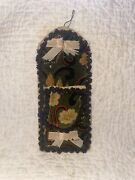 Antique Victorian Early Theorum Velvet Wall Pocket Pin Cushion Sewing Accessory