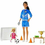 Barbie Soccer Coach Playset With Brunette Soccer Coach Doll, Student Doll And