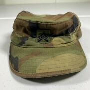 Vintage Us Army Patrol Cap Hat Size 7 Camouflage Camo Military Green Bdu Mens