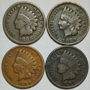 Indian Head Penny Lot Of 41888-1889-1890 And 1891 Avg Circ Free Shipping905