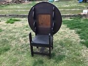 Early Oak Tavern Chair/ Table With Handcarving Oil Cloth And Bentwood Folding Top