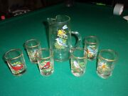 West Virginia Glass Co. Pitcher With Six Juice Glasses American Song Birds