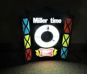 1980's Miller High Life Beer Miller Time Stain Glass Type Lighted Clock