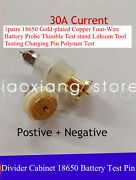 18650 Gold-plated Copper Four-wire Battery Probe Thimble Test Stand Tool /1pairs