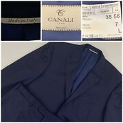 Canali 1934 Mens Suit Eu 56 L-us-46 L Blue Striped 100 Wool Made In Italy