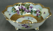 Nippon Hand Painted Purple Violets And Raised Beaded Gold Large Footed Bowl