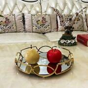 Noble Mirrored Tray Round Metal Frame Fruit Serving Tray Plate Ornate Cosmetic