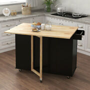 Rolling Kitchen Island Wheels Large 3 Drawers Serving Cart Trolley Cabinet Black