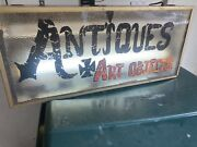 """Vintage Lighted """"antiques"""" """"art Objects"""" Sign By Display Corp . Pebble Glass"""