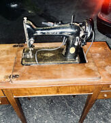 Vintage Singer 1950s Simanco Built In Sewing Machine W/ Table And Accessories Lot