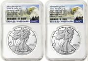 2021 Reverse Proof Silver Eagle 2 Coin Designer Set Ngc Rev Pf 70 First Release