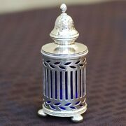 Antique And Co Sterling Silver Salt And Pepper Shakers With Blue Glass