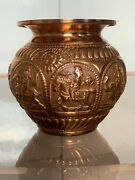 Antique Solid Copper Vase Bowl Chinese Astrological Design Lovely Collectables