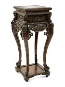 Pedestal Hardwood Stand Chinese Carved Height 36.5 Vintage Ornate 1900and039s