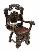 Antique Armchair Japonese Export Highly Carved Hardwood Armchair