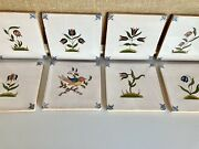 Vintage Hand Painted Floral And Bird Pottery Tiles/flowertiles/ Makkum Style Tiles