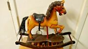 Antique Hand Carved Wooden Rocking Horse Real Horsehair Tail